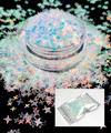 TNS Clear Iridescent Laser 4 Point Star Glitter for Nail Art 4mm - 1oz Bag