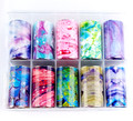 Bright Coloured Marbling Nail Art Transfer Foil Set (10 Designs Per Box)