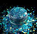 TNS Blue Pizzazz Glitter Mix for Nail Art - 1oz Bag
