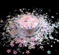 TNS Pink & White Star & Moon Glitter Mix for Nail Art - 1oz Bag