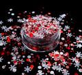 TNS Red & White Snowflake Glitter Mix for Nail Art - 1oz Bag