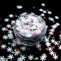 TNS Red, White & Green Snowflake Glitter Mix for Nail Art - 1oz Bag