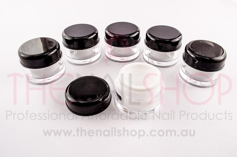 aaf8770fd41a Clear, Black & White Empty Plastic Gel Nail Jars/Pots 5ml - 6 PCS