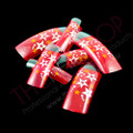 Designer Christmas Airbrushed Nail Tips - Sheer Red & Silver/Gold Stars (26PCS)