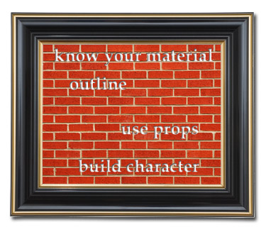 Brick wall with text,