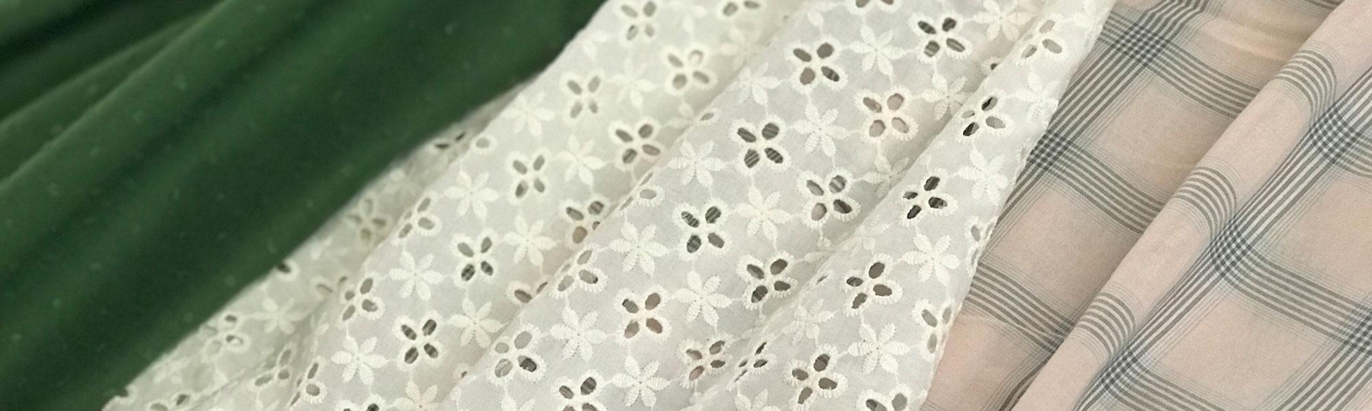 Cotton lawn, shirting, and eyelet