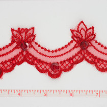 Red Sequined Lace Trim