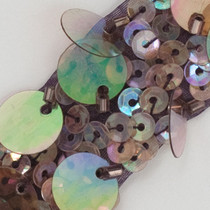 Bronze Iridescent Sequined and Beaded Medallion Trim - Enlarged to show detail