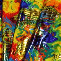 Lizard Texture Swirl Metallic Four Way Stretch Fabric