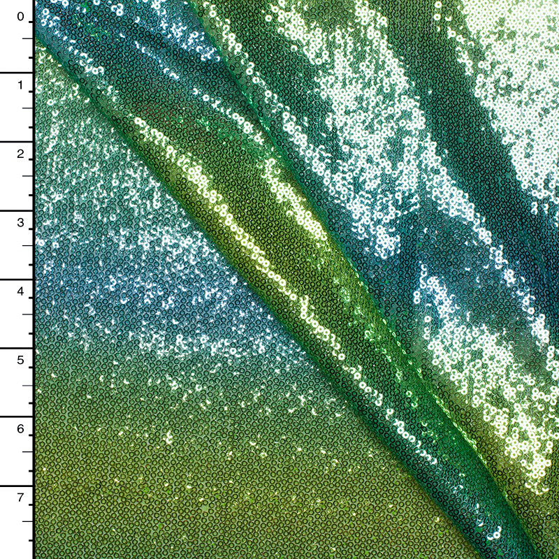 Green/Turquoise Ombre Stripe Baby Sequin Fabric