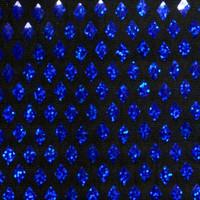 Blue on Black Holographic Diamond Sequin Fabric