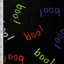 Black Boo! Halloween Cotton Print Fabric