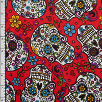 Red Day of the Dead Cotton Print Fabric