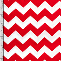 Red and White Chevron Cotton Print Fabric