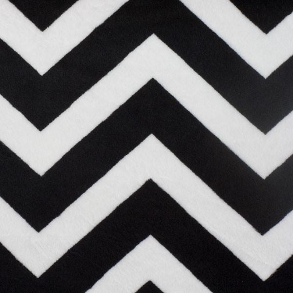 Black and White Chevron Print Cuddle Fur Fabric