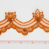 Orange Sequined Lace Trim