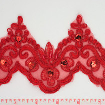 Red Beaded Lace Trim