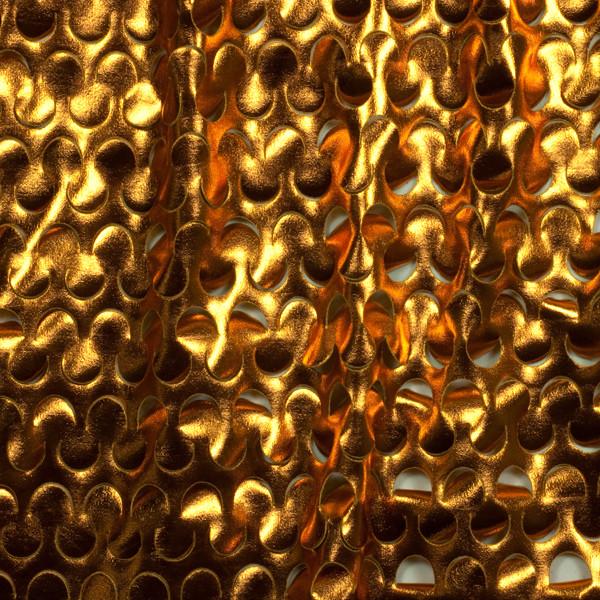 Deep Gold Laser Cut Lycra Lame 4-way Stretch Fabric