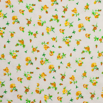 Mini Yellow Roses on White Flannel Print Fabric