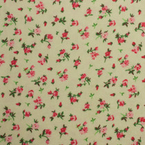 Mini Pink Roses on Tan Flannel Print Fabric