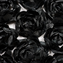 Large Black Rosette Fabric