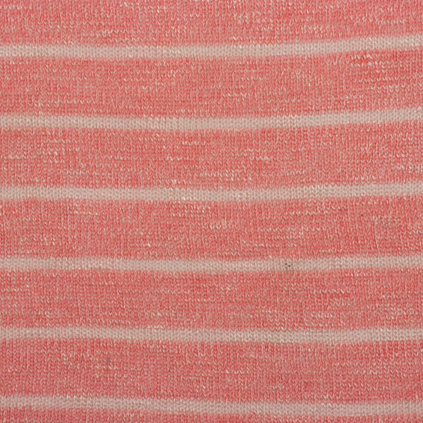 Heather Red and Ivory Stripe Loose Sweater Knit Fabric