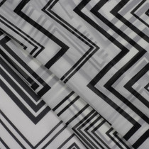 Black on White Multi Chevron Chiffon