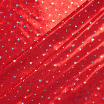 Red with Holographic Silver Dots Stretch Mystique