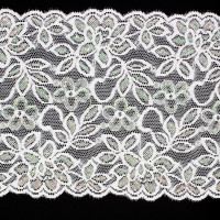 "6"" Iridescent White Stretch Lace Trim"