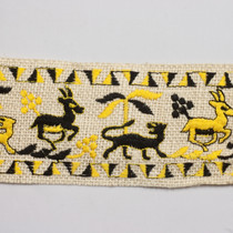 "Embroidered Yellow and Black Animals on 3.5"" Ivory Burlap Ribbon"