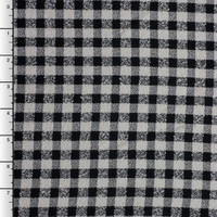 Black and Ivory Plaid Silk/Wool Boucle
