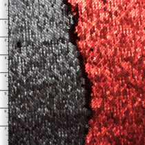Matte Black and Deep Red Reversible Two Tone Sequin Fabric
