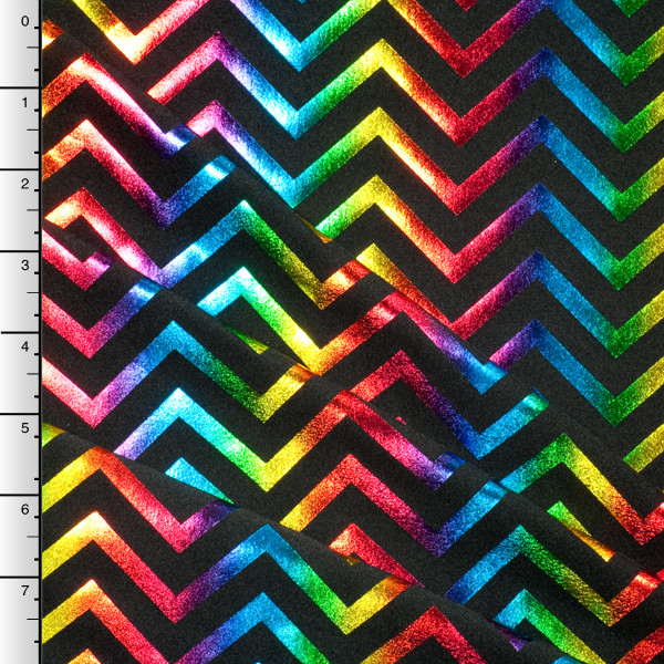 Rainbow Chevron Metallic on Black Nylon/Lycra