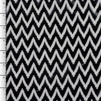 Black Chevron Lame on White Nylon/Lycra
