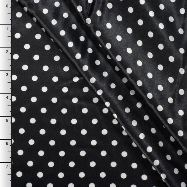 Black and White Mini Polka Dot Charmeuse Satin Print