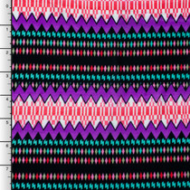 Teal, Purple, and Pink Patterned Stripe ITY Knit Print