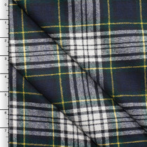 Navy, Green, and White Tartan Plaid Brushed Polyester Suiting