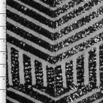 Black Geometric Stretch Micro Sequin Fabric