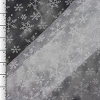 Flocked Snowflakes on White Organza (On Black Background)