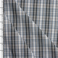 Light Gray and Charcoal Plaid Stretch Cotton Shirting
