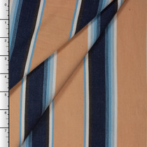Tan and Blue Sarape Stripe Cotton Dobby by Robert Kaufman