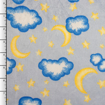 Moon, Stars, and Cloud Print Lightweight Velour