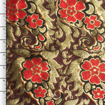 Red and Metallic Gold Floral Brocade