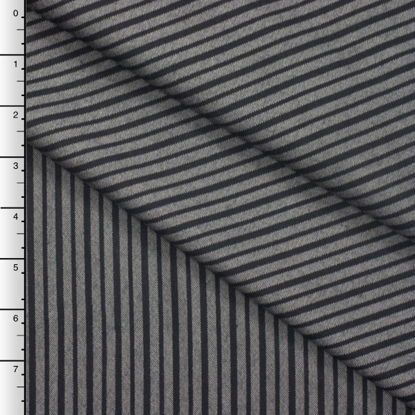 Black and Grey Striped Designer Wool Suiting
