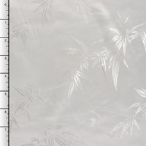 White Bamboo Leaves on White Chinese Brocade