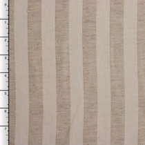 Natural and Offwhite Striped Cotton Canvas