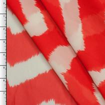 Red-Orange Brushstroke Chevron Chiffon Print