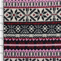 Pink, Burgundy, and Ivory Winter Tribal Techno Knit