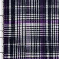 Purple, Black, and White Houndstooth Plaid Lycra