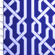 Royal Blue Lattice Geometric Outdoor Canvas